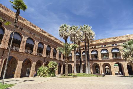 BARCELONA,SPAIN-MAY 15,2017:Ancient Mental Health Institute,Park,Parc Nou Barris,Barcelona.