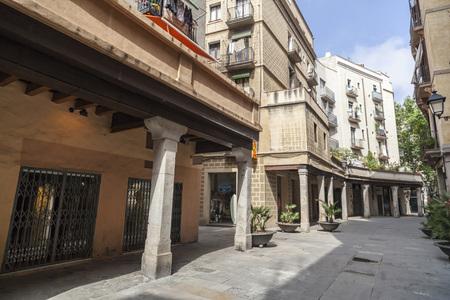 BARCELONA,SPAIN-MAY 26,2017:Street in El Born quarter, Barcelona.