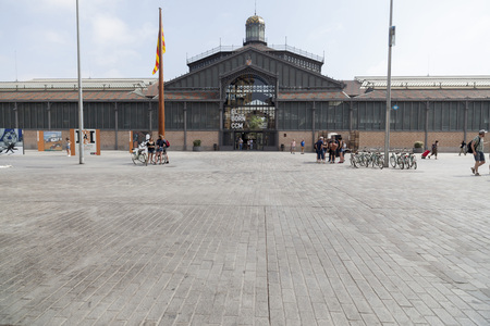 BARCELONA,SPAIN-MAY 26,2017:Building, El Born cultural center, ancient market. El Born quarter, Barcelona.