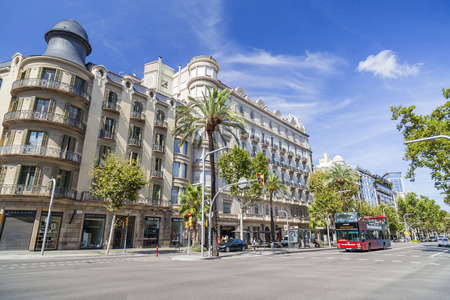 BARCELONA,SPAIN-AUGUST 13,2017:Street view, Diagonal avenue, Barcelona.