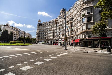 BARCELONA,SPAIN-AUGUST 13,2017:Street view, Francesc Macia square, Barcelona.