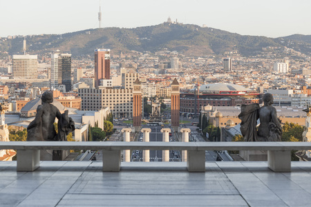 BARCELONA,SPAIN-SEPTEMBER 5,2017:General city view from from national palace museum, Barcelona.