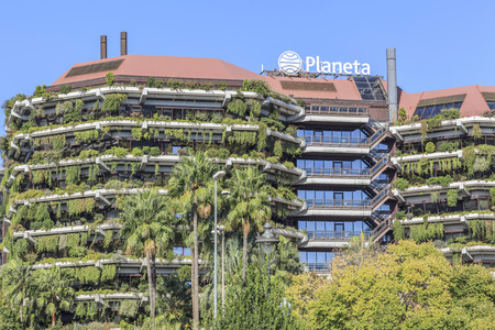 BARCELONA,SPAIN-OCTOBER 8,2017:Building headquarters Planeta Group,spanish media group,Diagonal avenue,Barcelona.