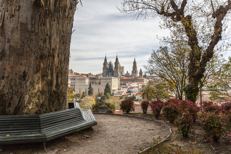 SANTIAGO DE COMPOSTELA,SPAIN-NOVEMBER 21,2017:City view from Alameda park,Santiago de Compostela,Spain.