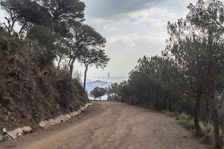 Mountain, road way,Carretera de les aigues, Collserola, next to Barcelona.