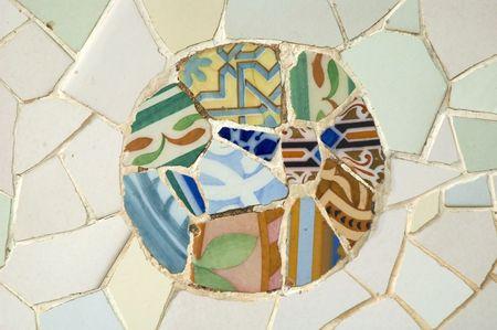 Photo for Antoni Gaudí mosaic work on the main terrace at Park Güell (1914)- Barcelona - Spain. - Royalty Free Image