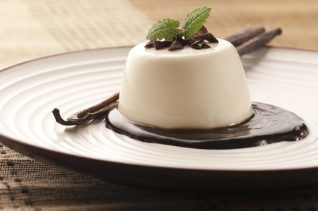 Panna Cotta with chocolate and vanilla beans
