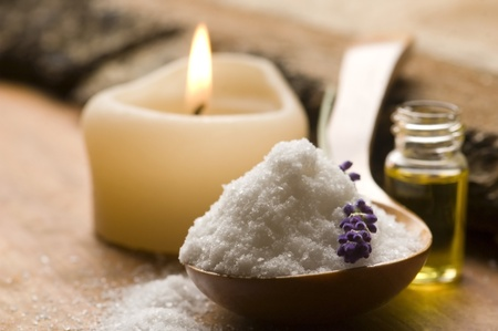 Soap With Fresh Lavender Flowers And Bath Salt