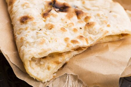 Photo for Garlic Naan, Indian flat bread - Royalty Free Image