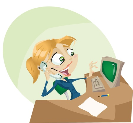 A happy cartoon secretary answers the phone with a smile  Illustrator. Contains transparency ellements on highlights