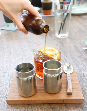 lemon tea or pour some tea into the glass