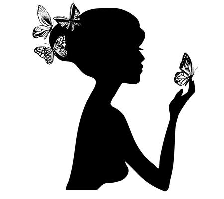 Ilustración de beauty girl silhouette with butterfly. Vector illustration of woman beauty salon - Imagen libre de derechos