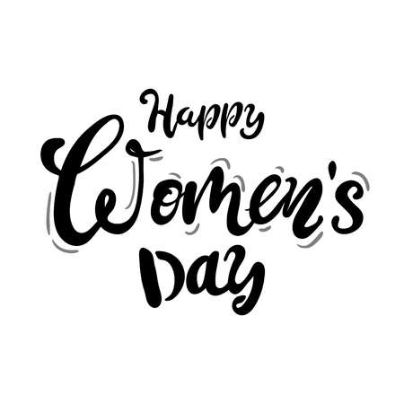 Illustration pour Happy Womans Day text as celebration badge, tag, icon. Text card invitation, template. Festivity background.Vector illustration. Lettering typography poster. black white - image libre de droit