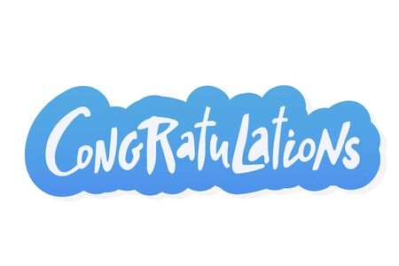 Illustration pour Congratulations sticker bue lettering. Vector greeting card poster. Original handwritten calligraphy lettering , wold, on white background. - image libre de droit