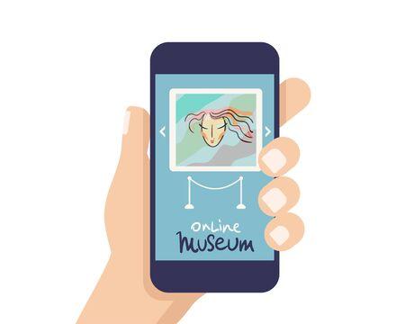 Illustration pour Interactive museum exhibition. smatphone. Virtual Museum and Art GalleryTours in Smartphone. Online Tours. Vector flat concept - image libre de droit