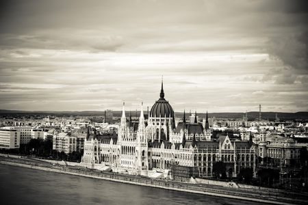 The parliament of the ungarian capital Budapest in sepia