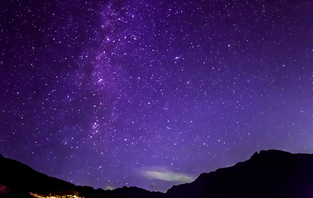 Photo for purple night sky stars. Milky way across mountains - Royalty Free Image
