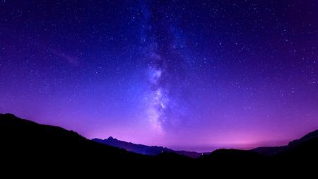 Photo for Milky Way on tuscany mountain. Galaxy night sky stars - Royalty Free Image