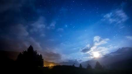 Photo for night sky stars and moon across mountain - Royalty Free Image