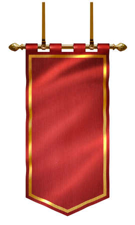 medieval red flag with golden bar and gilded frieze