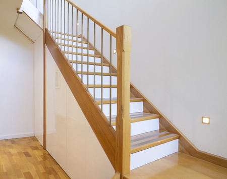European Oak starcase with white risers in a contemporary architect designed home