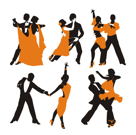 vector orange background with dancing couple