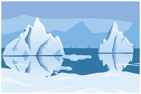 iceberg, icescape. square background. vector illustration