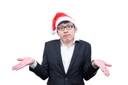 Business man has unknowing with Christmas festival themes isolated on white background.