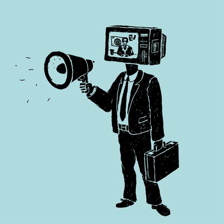 Illustration pour Propaganda by TV and Loudspeaker - image libre de droit