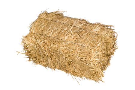A bale of hay isolated on a white background