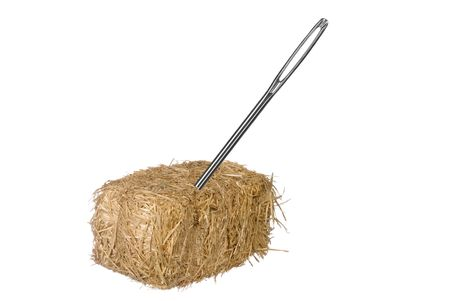 A needle is discovered in an obvious find.  Good for thinking the opposite from a needle in a haystack.  Easy to find.  No matter the situation inferences.