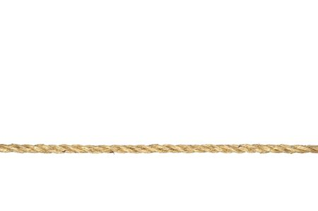 A straight line of twisted manila rope isolated on a white background.
