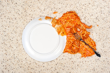 A dropped plate of spaghetti on new carpeting.