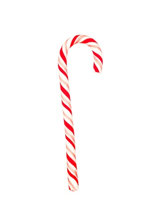 A Christmas candy cane isolated on a white background