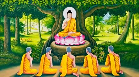 The Buddha s teaching image on Thai temple wall