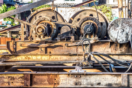 The winch engine of pile driver. The machine is used to drive piles into soil to provide the foundation.