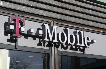 Amsterdam, Netherlands-november 26, 2015: Letters T mobile on a store in Amsterdam
