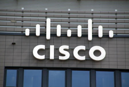 Amsterdam, Netherlands-august 14, 2016: letters Cisco on a wall
