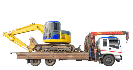 Photo pour Tractor on crane truck isolated on white background. Clipping path - image libre de droit
