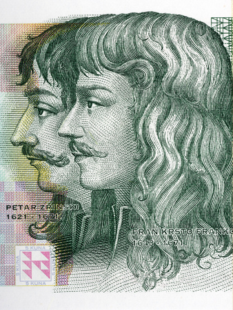 Fran Krsto Frankopan and Petar Zrinski portrait from Croatian money