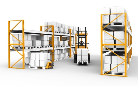 Shelves, pallets and trucks. Part of warehouse series.