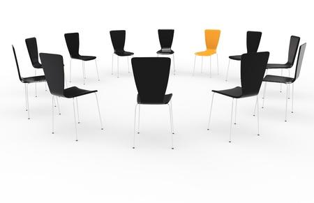 Foto de Chairs in a circle. Front view. Black and Orange - Imagen libre de derechos