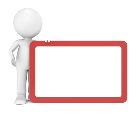 3d human character with a blank board for Copy Space. Red Frame