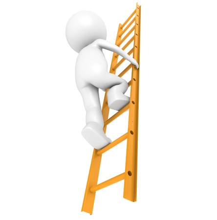 3D Little Human Character Climbing on an Orange Ladder