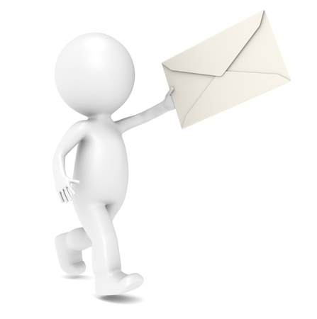 3D Little Human Character Running with an Envelope. Isolated