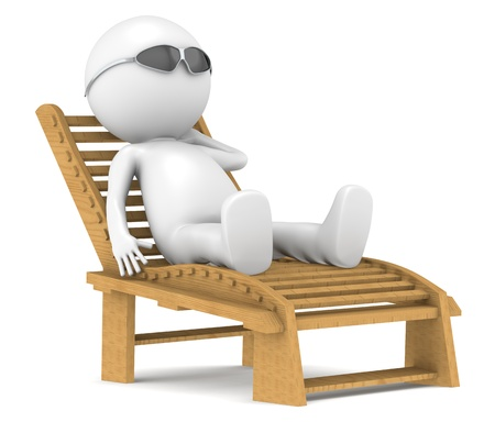 3D little human character lying on a Patio Chair in the sun