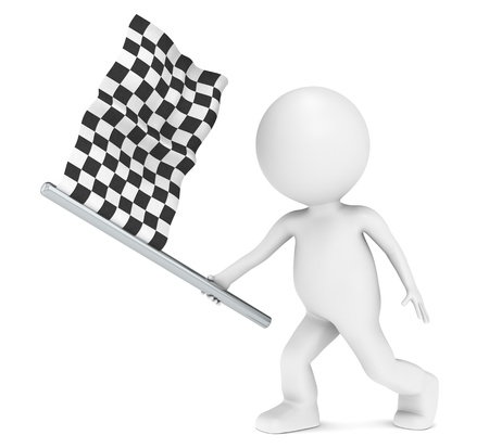 Competition. 3D little human character holding Checker Flag