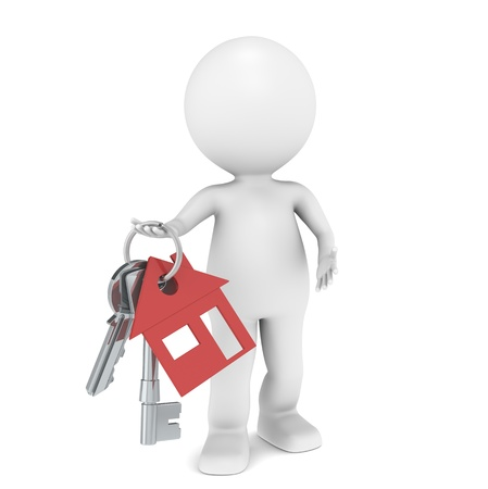 Real Estate Agent. 3D little human character holding a pair of House Keys. Red