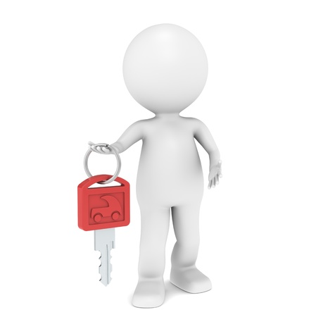 3D little human character with a Car Key. Red