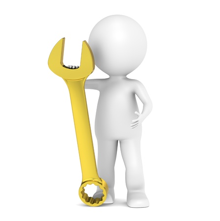 3D little human character with a Golden Wrench